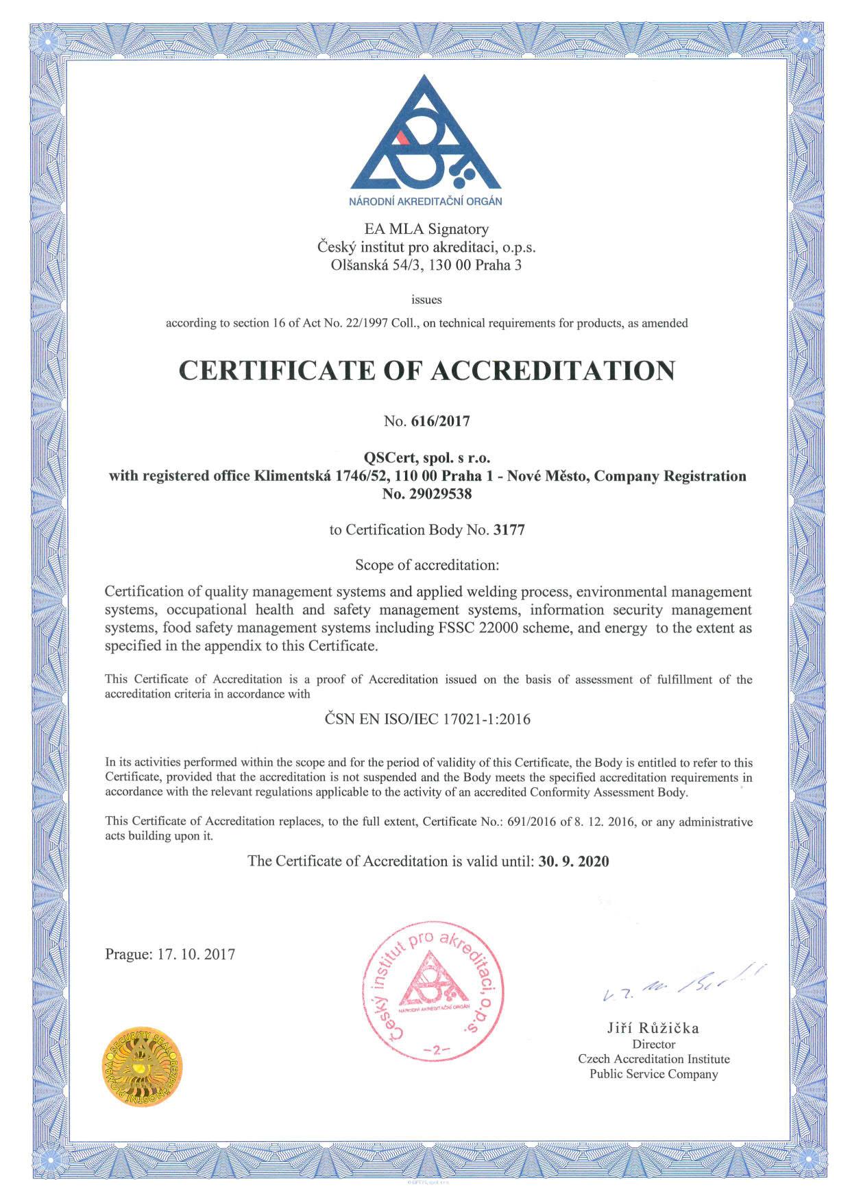 accreditation qscert
