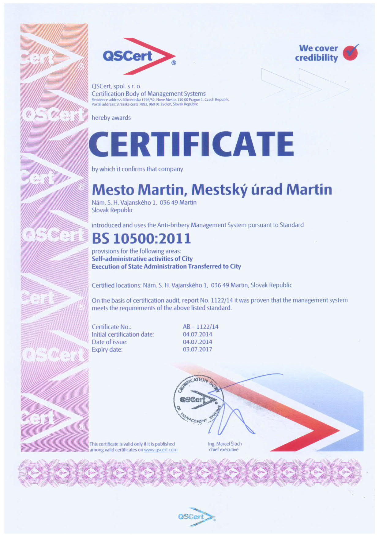 EXAMPLE: Certificate BS 10500