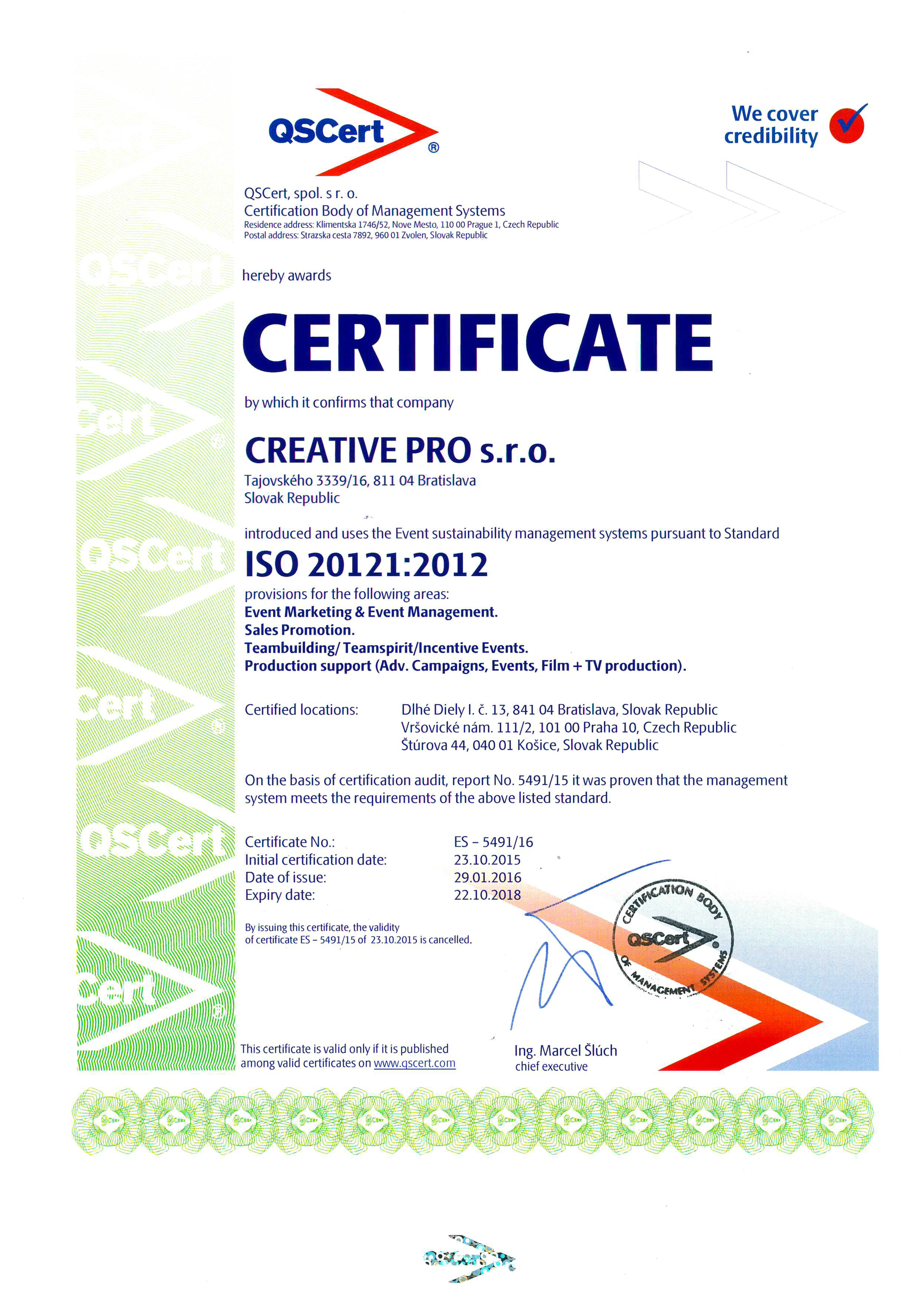 Certificate ISO 20121