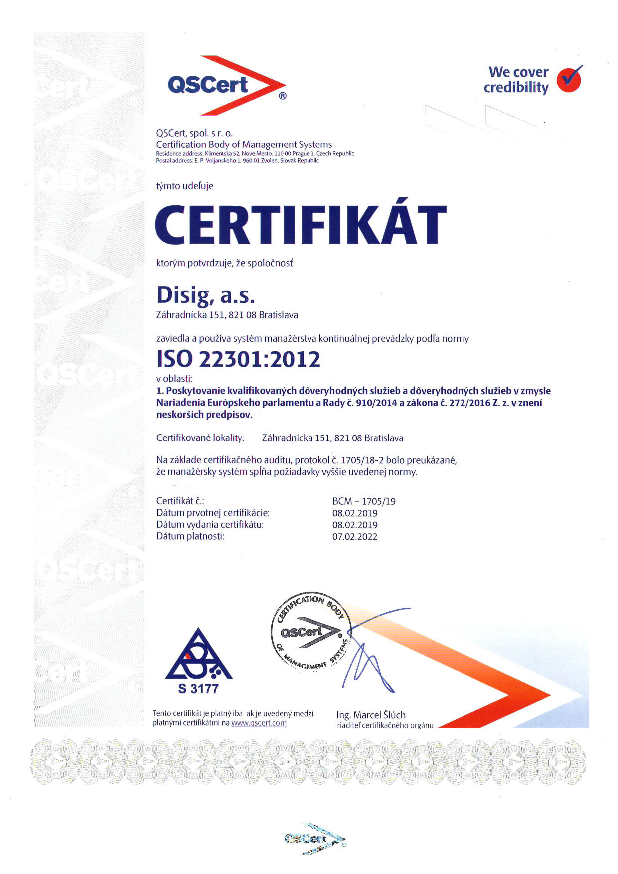 Example: ISO 22301 Certificate