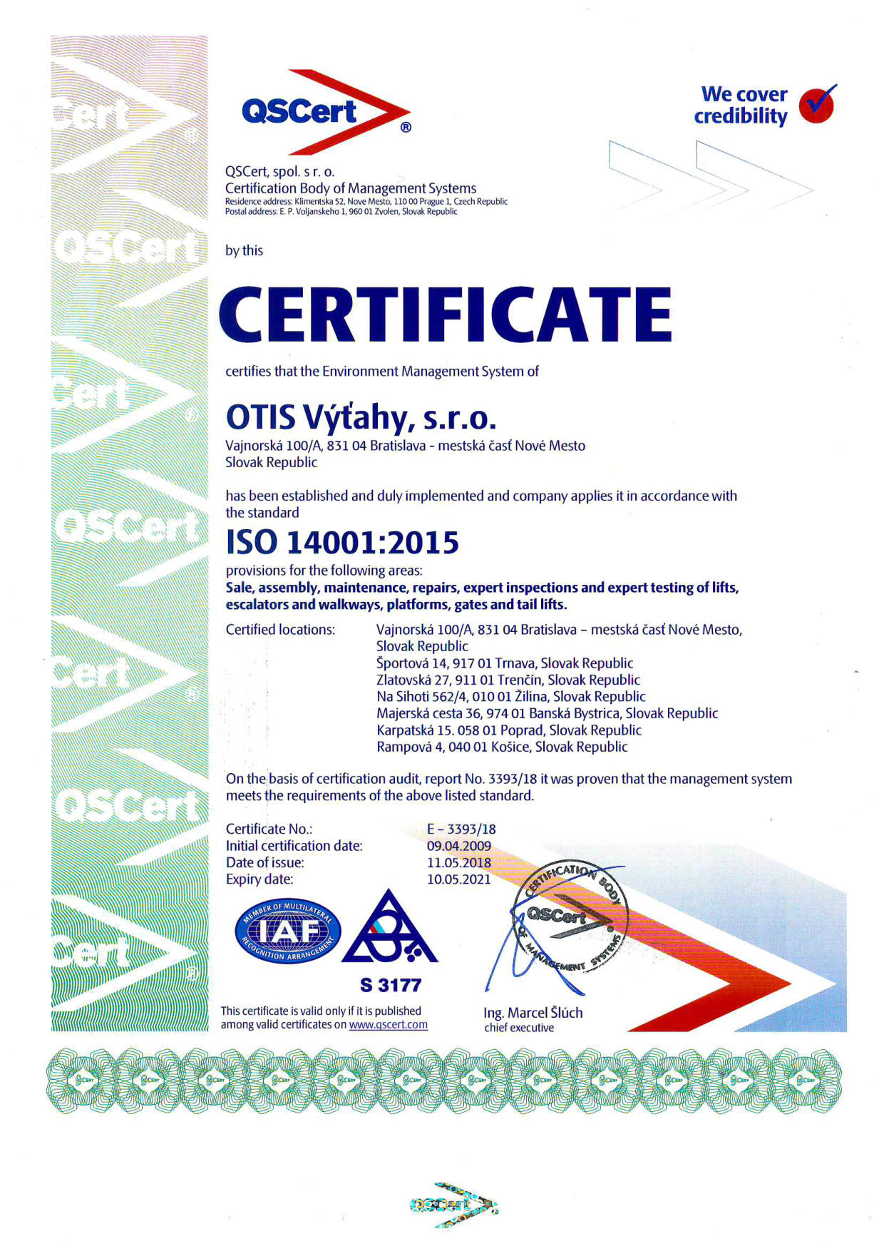 EXAMPLE: ISO 14001 Certificate