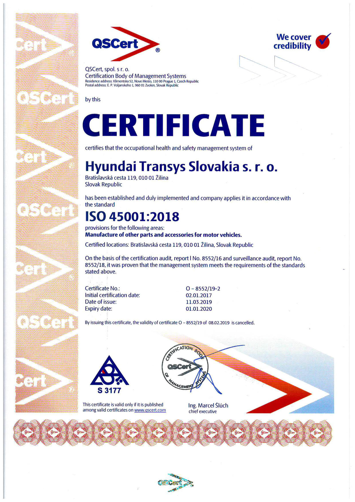 Example: ISO 45001 Certificate