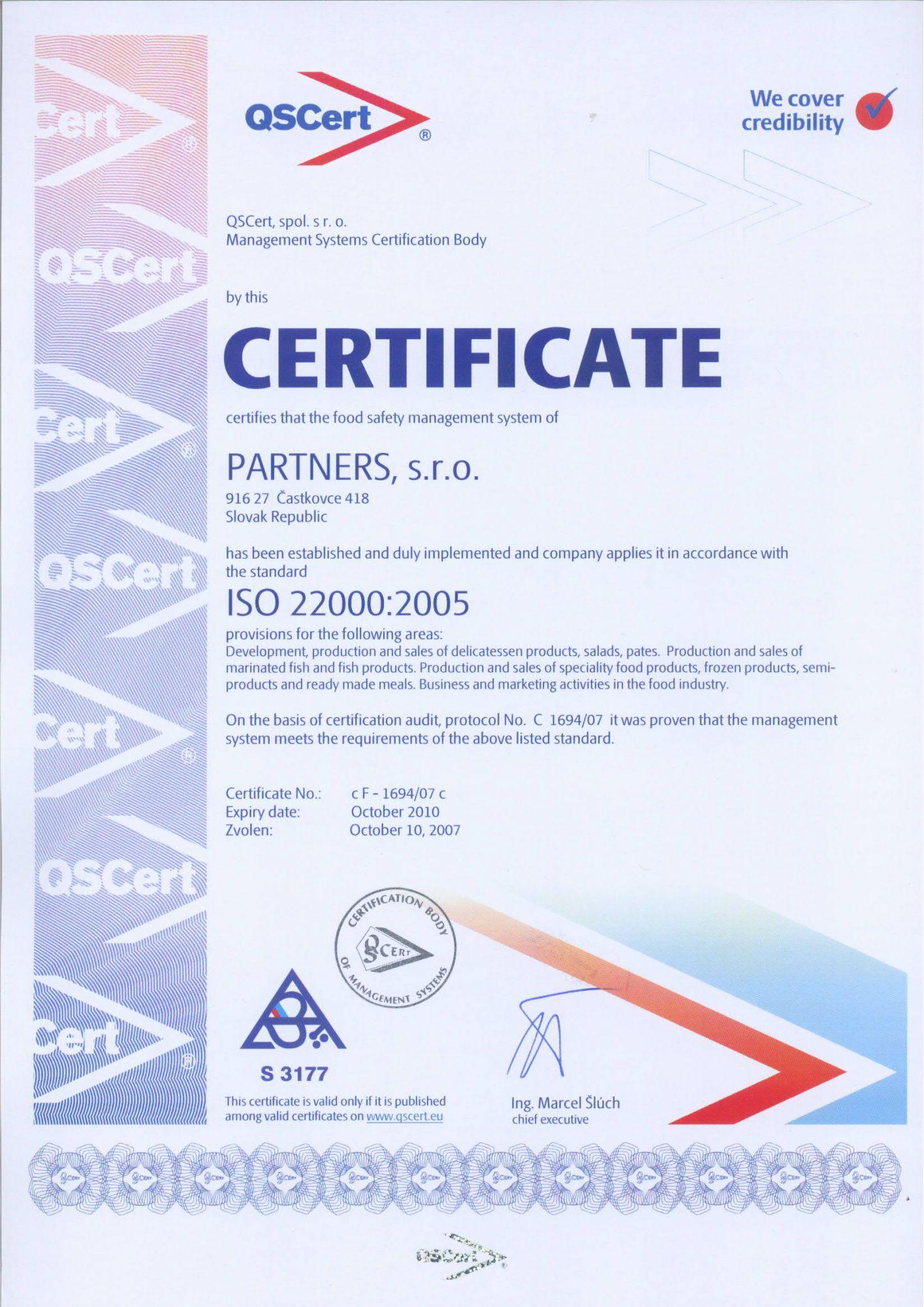 ISO 22000, QSCert