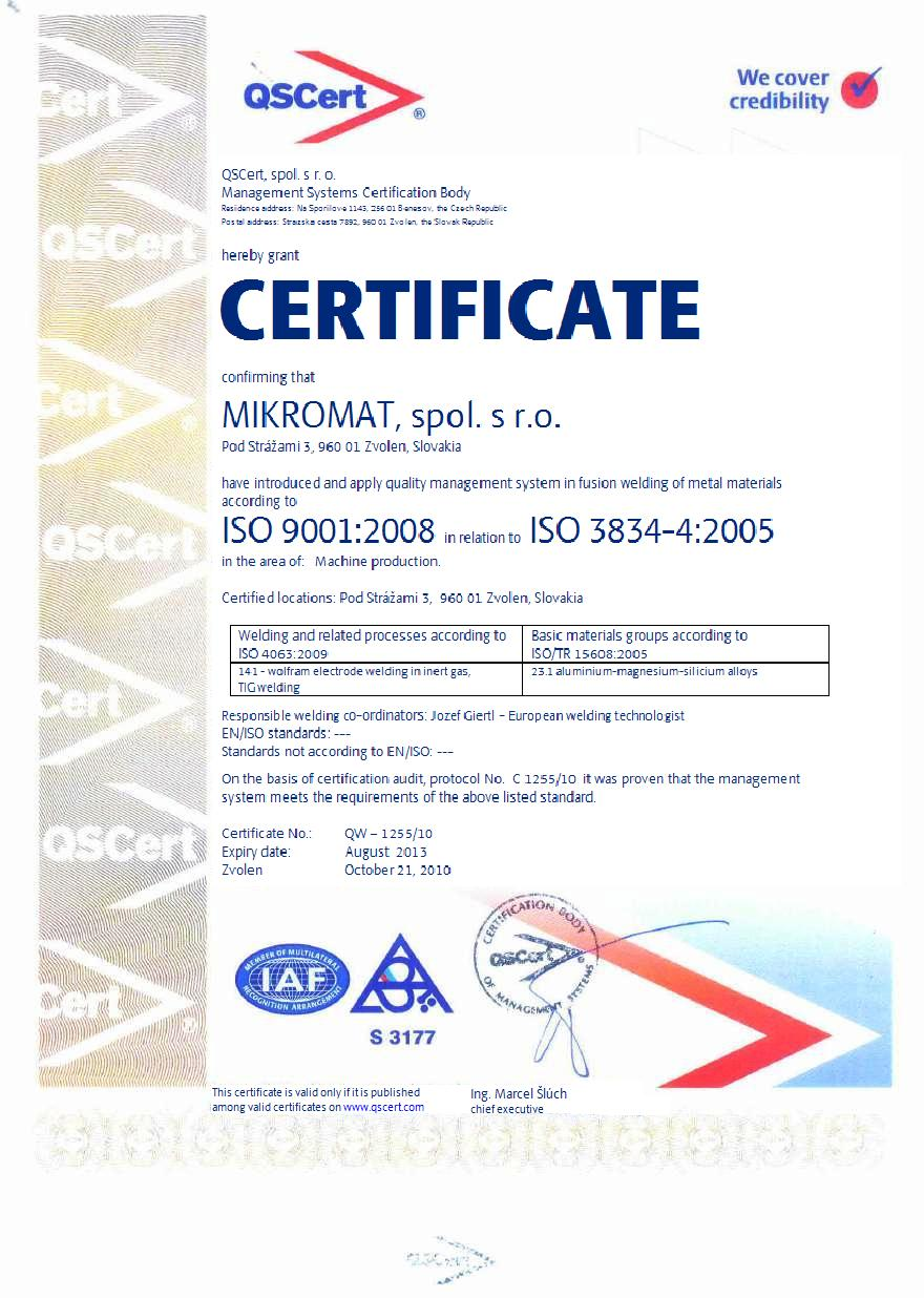EXAMPLE: Certificate ISO 9001 in conjuction with ISO 3834