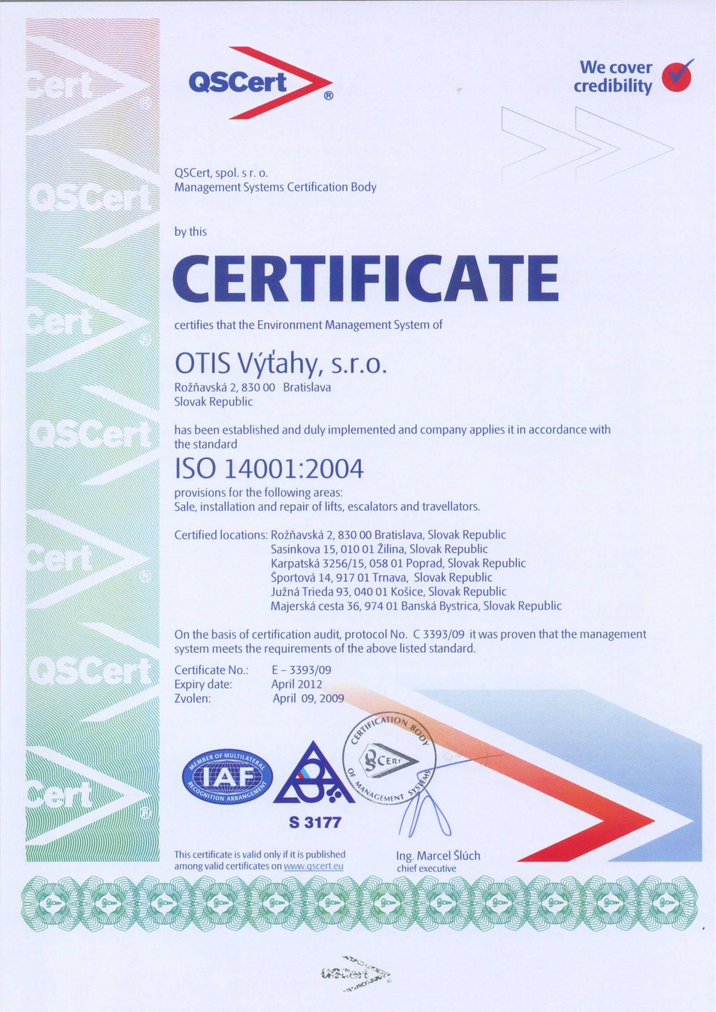Iso 14001 qscert example certificate iso 14001 xflitez Choice Image
