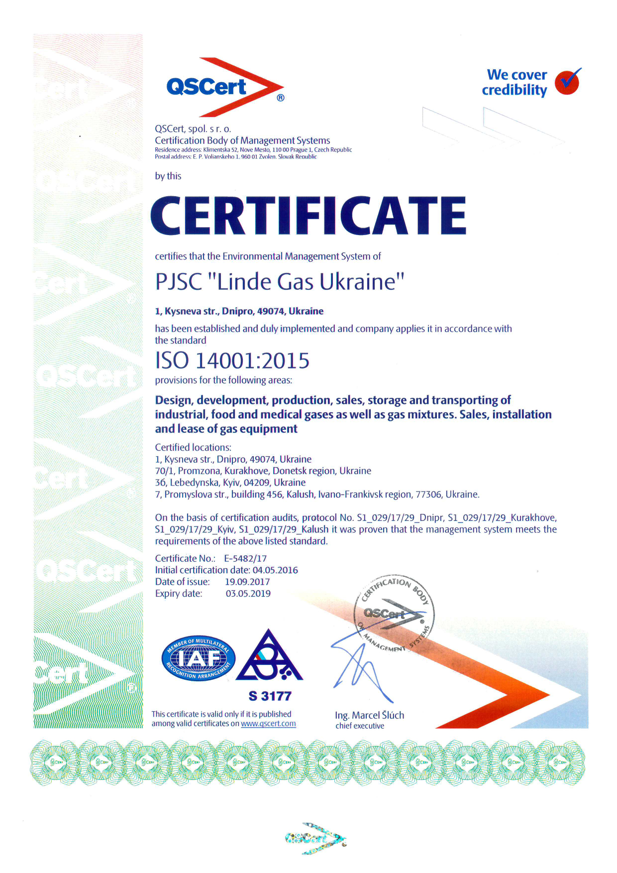 EXAMPLE: Certificate ISO 14001